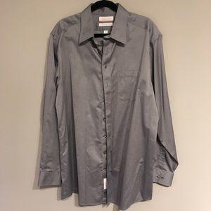 Roundtree and Yorke Grey herringbone Shirt TALL